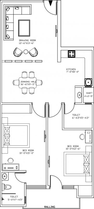 SS Residency Floor Plan: 2 BHK Unit with Built up area of 950 sq.ft 1