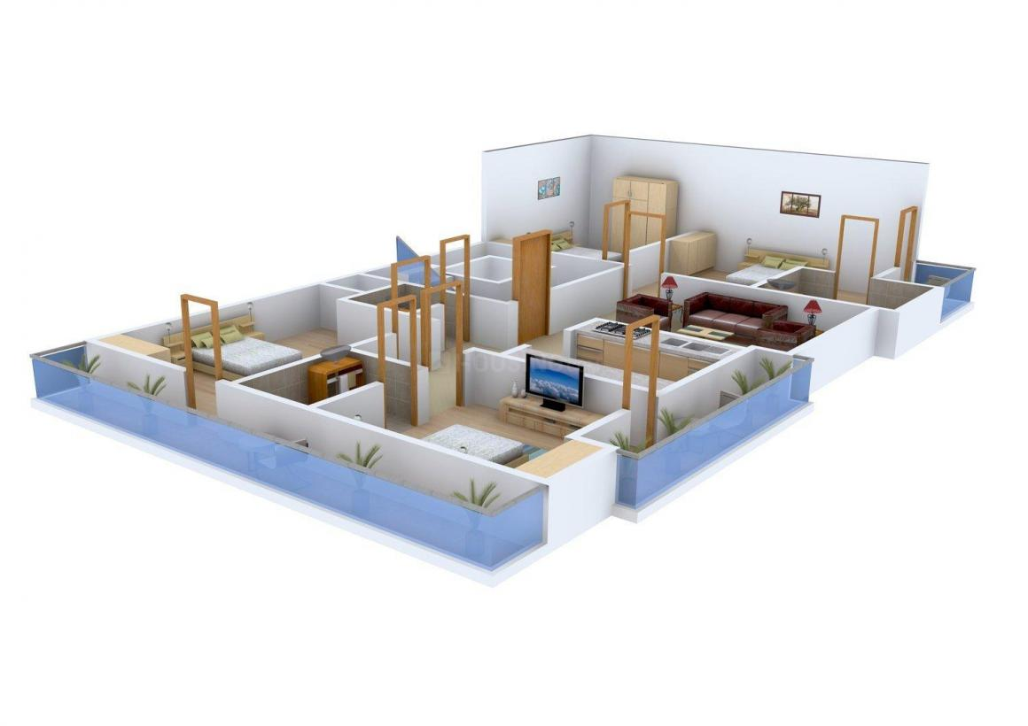 Pahawa Abode II Floor Plan: 4 BHK Unit with Built up area of 1350 sq.ft 1