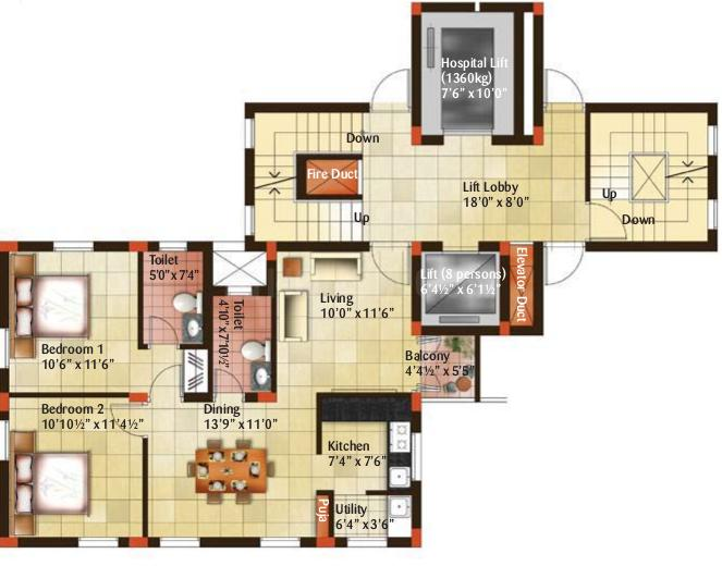 Indus Amber Floor Plan: 2 BHK Unit with Built up area of 1010 sq.ft 1