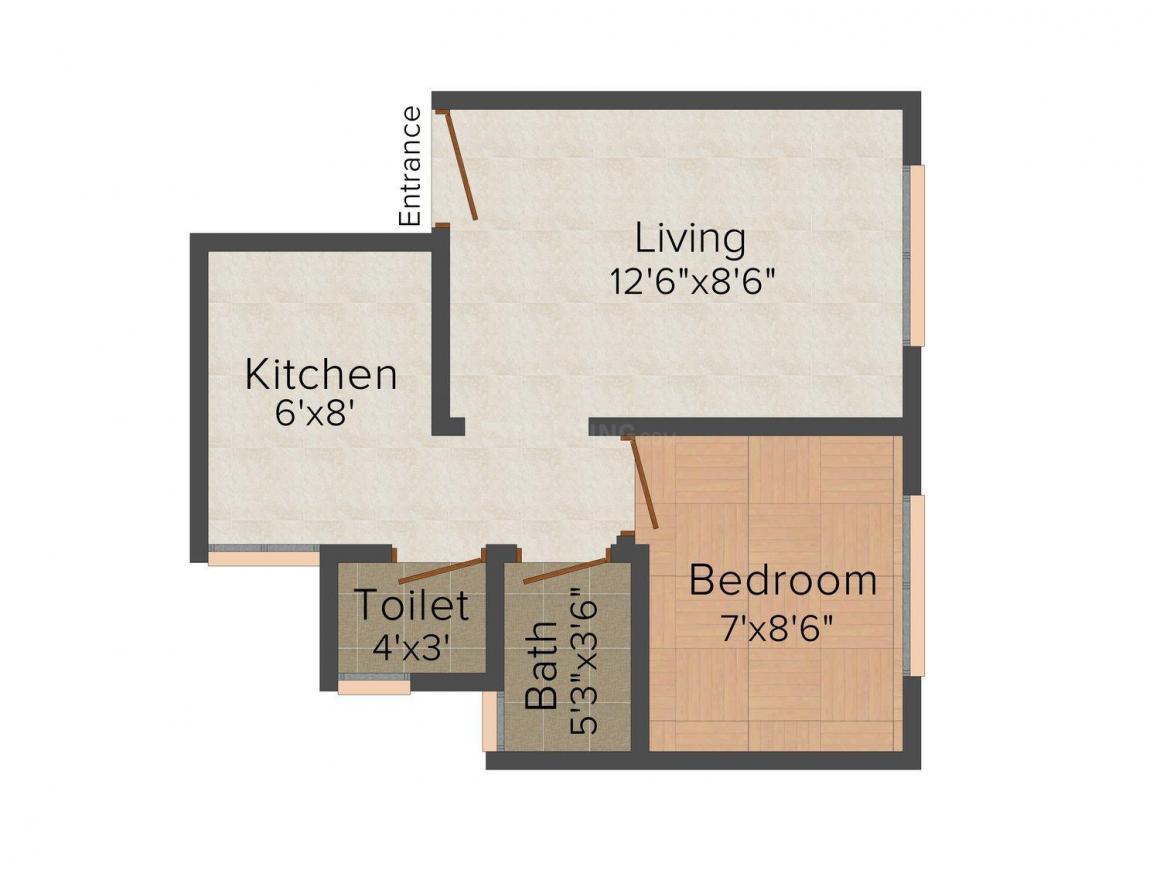 Floor Plan Image of 0 - 530.0 Sq.ft 1 BHK Apartment for buy in Saikripa Mahalaxmi Sankalp