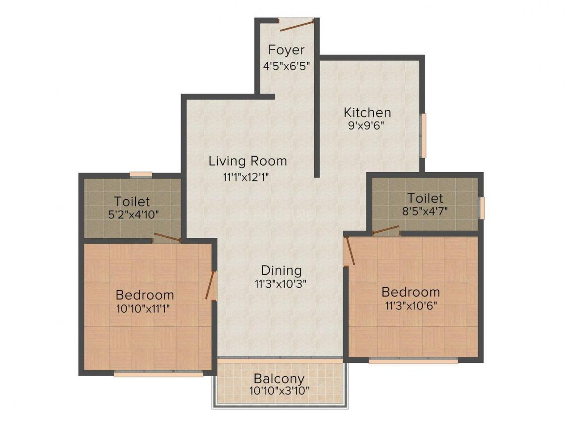 Floor Plan Image of 938.0 - 1775.0 Sq.ft 2 BHK Apartment for buy in Artech Florenza