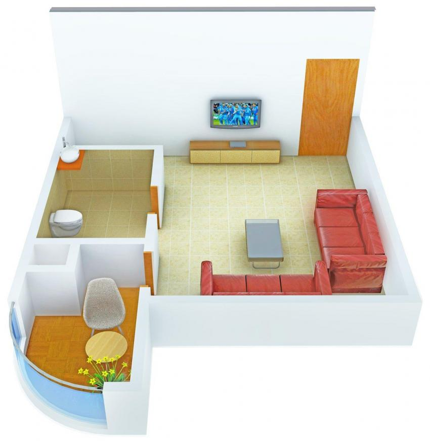 Floor Plan Image of 450.0 - 1495.0 Sq.ft 1 BHK Studio Apartment for buy in National Excellency