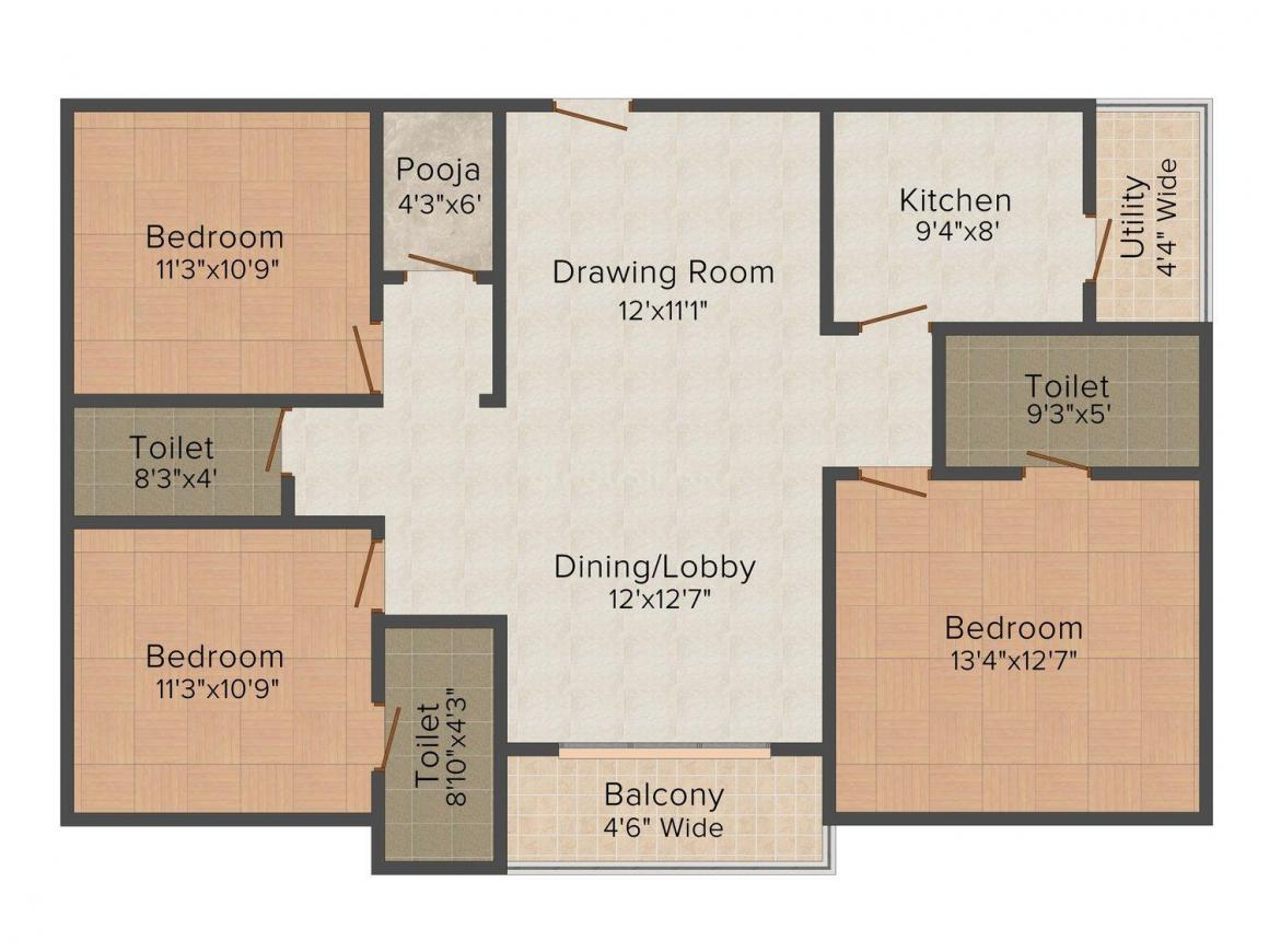 Floor Plan Image of 0 - 1540 Sq.ft 3 BHK Apartment for buy in Sri Sai Ram Arcade