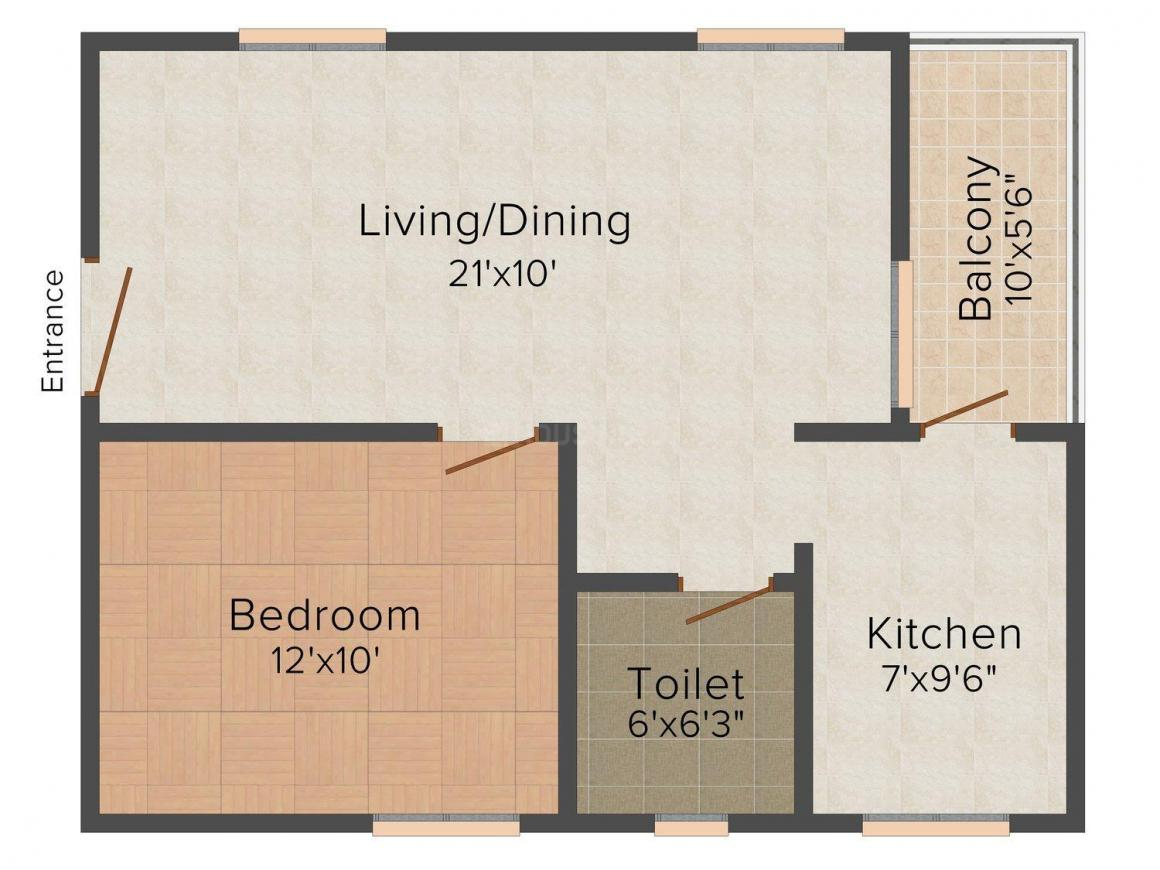 Floor Plan Image of 709 - 1078 Sq.ft 1 BHK Apartment for buy in Town Centre Apartment