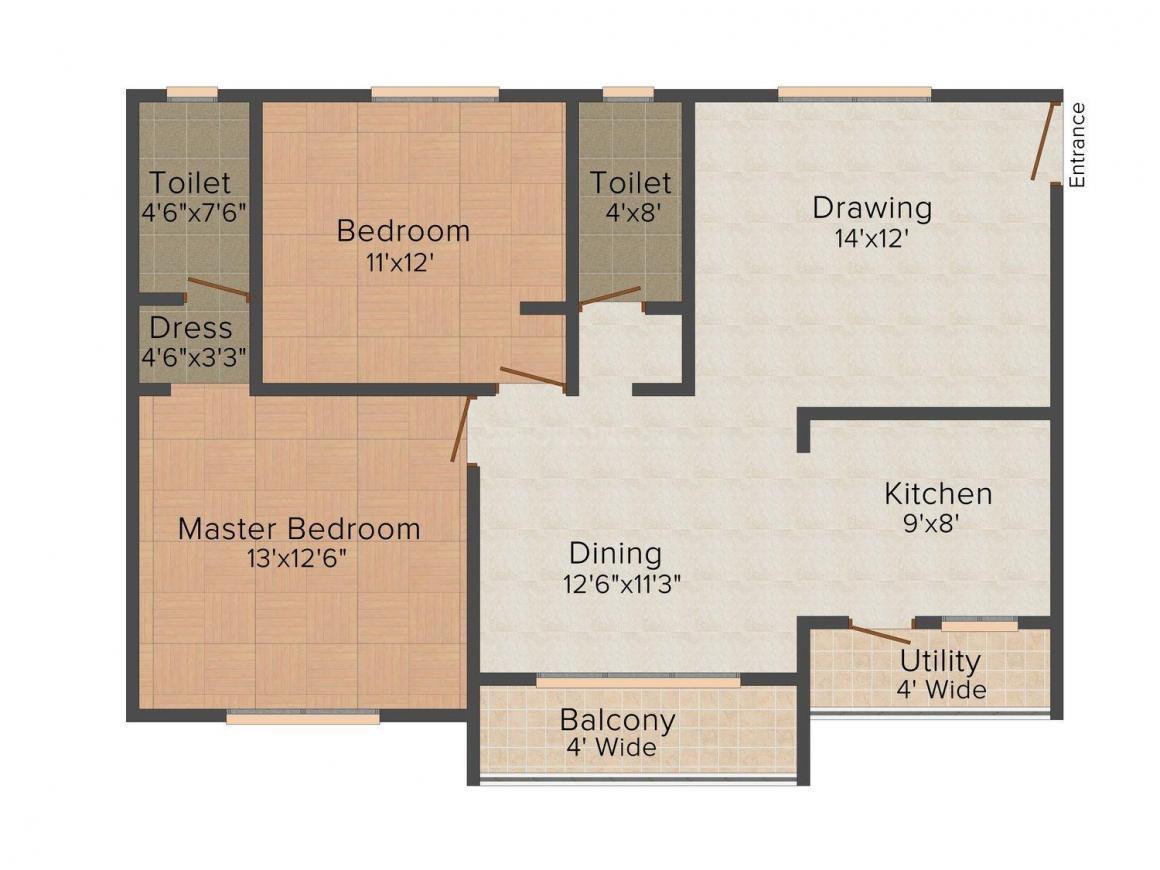 Floor Plan Image of 1170.0 - 1200.0 Sq.ft 2 BHK Apartment for buy in Prime B Block