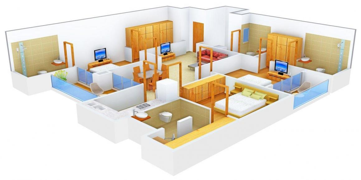 SNG Sunrisers Floor Plan: 3 BHK Unit with Built up area of 2194 sq.ft 1