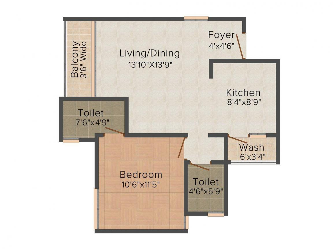 Floor Plan Image of 793 - 1378 Sq.ft 1 BHK Apartment for buy in Drew Bela Residency