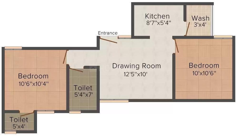 Akriti Giriraj Mension Floor Plan: 2 BHK Unit with Built up area of 750 sq.ft 1