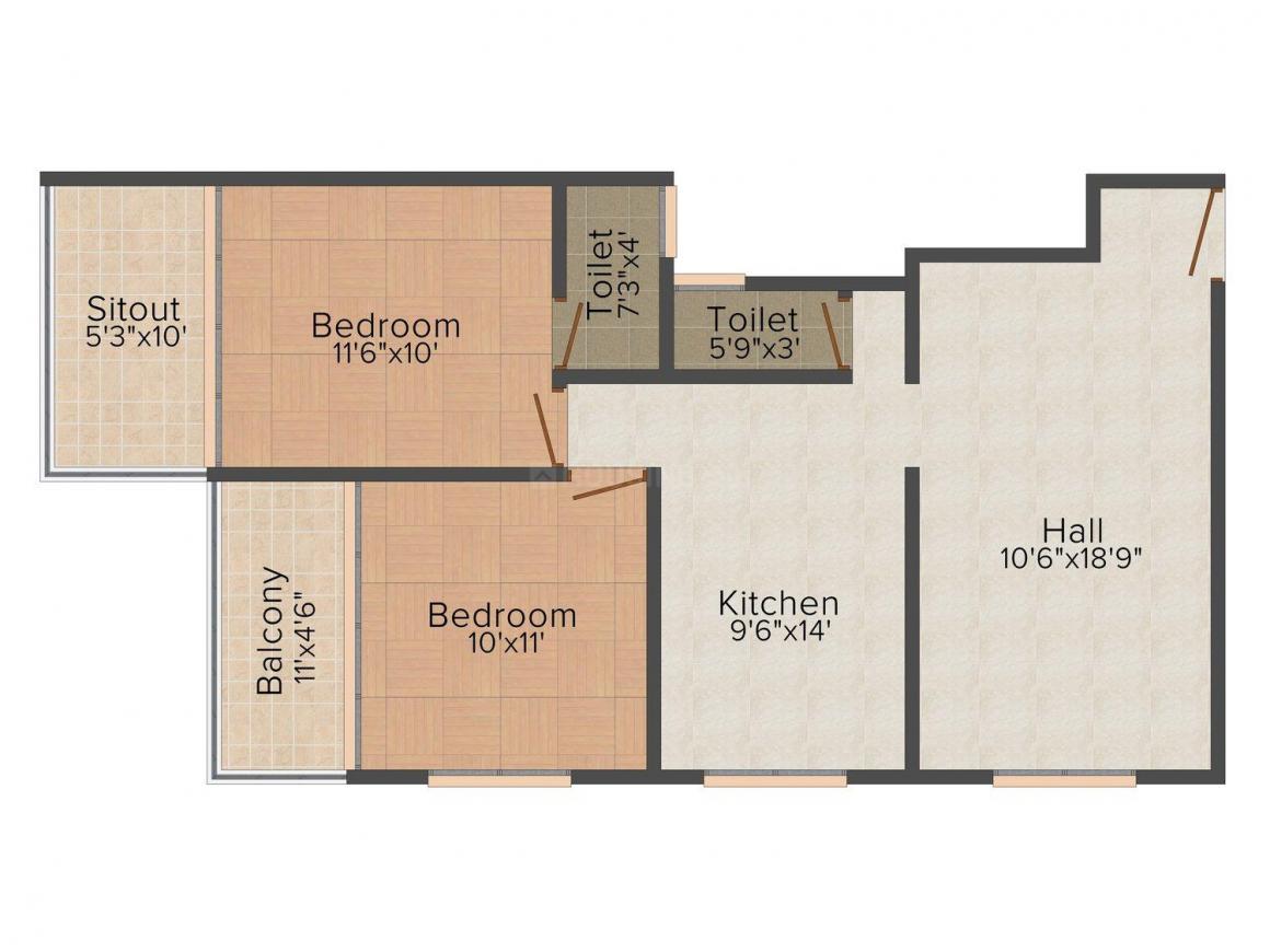 Floor Plan Image of 0 - 1000.0 Sq.ft 2 BHK Apartment for buy in Khabiya Vakratunda Heights