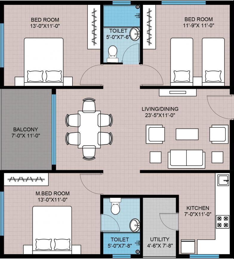 Modi Gulmohar Residency Floor Plan: 3 BHK Unit with Built up area of 1360 sq.ft 1