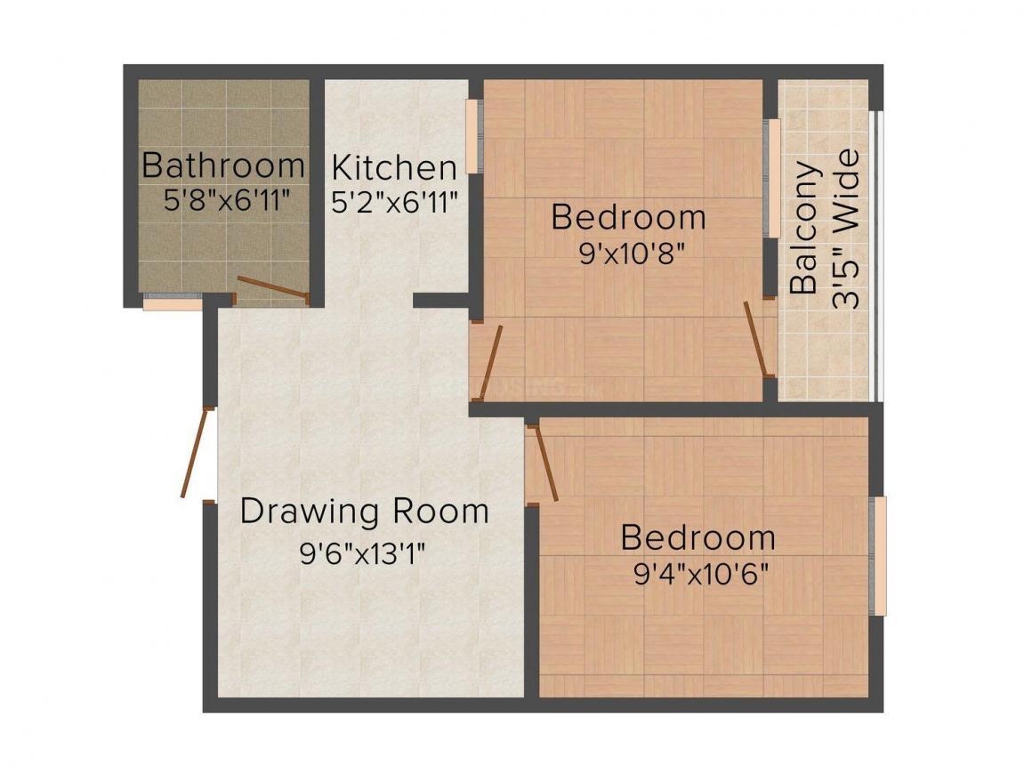 Floor Plan Image of 0 - 450 Sq.ft 2 BHK Independent Floor for buy in Dev Floors 1