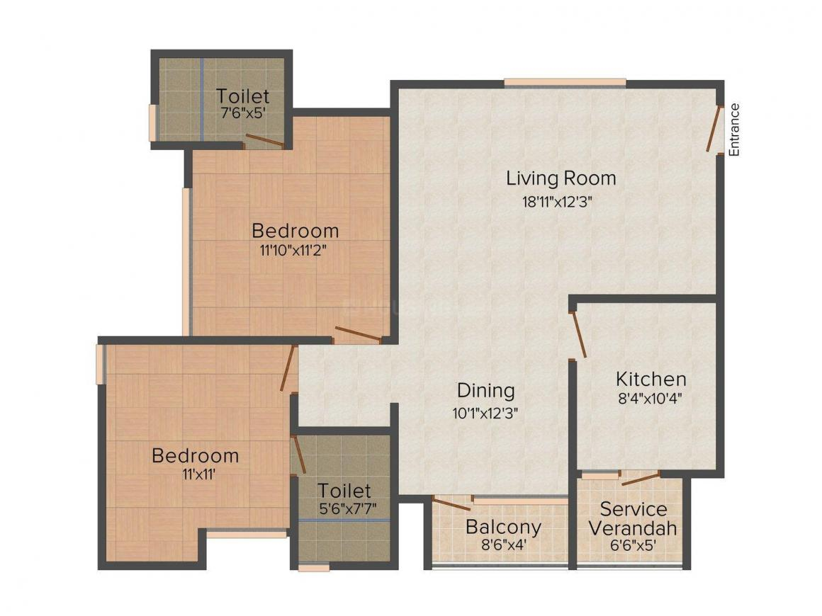 Sreerosh Anthea Floor Plan: 2 BHK Unit with Built up area of 1175 sq.ft 1