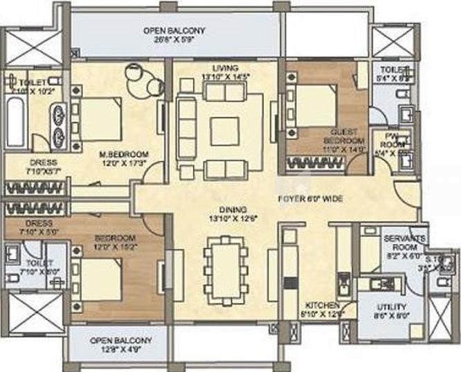 K Raheja Vistas Premiere Magna Floor Plan: 3 BHK Unit with Built up area of 2140 sq.ft 1