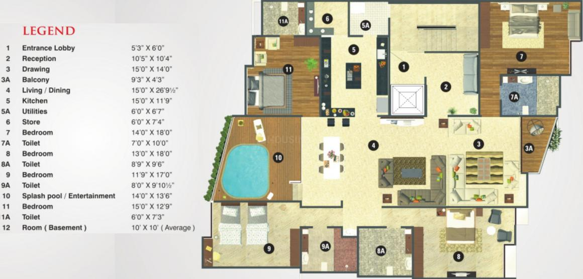 Tirth Silver Castle Floor Plan: 4 BHK Unit with Built up area of 4356 sq.ft 1