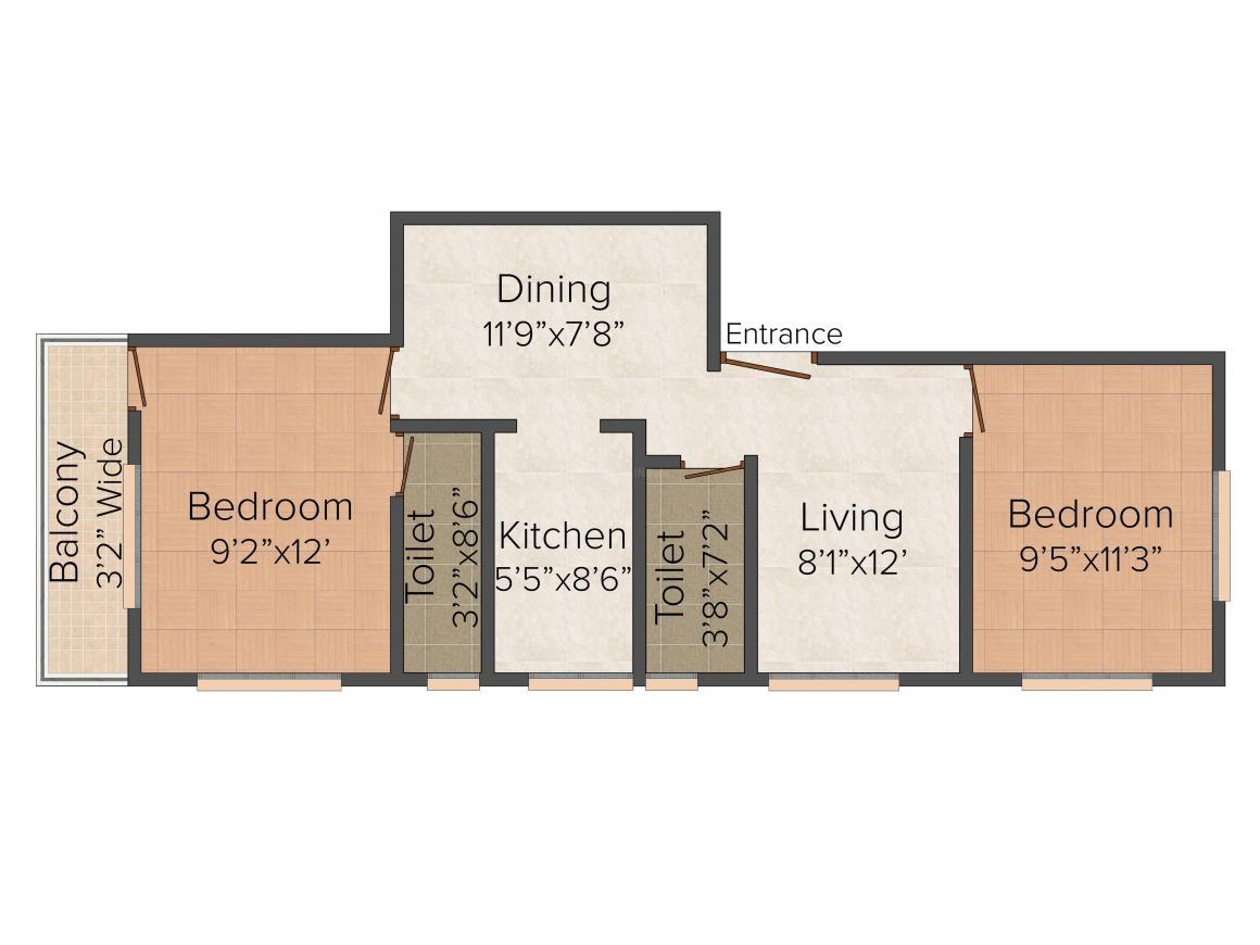 Floor Plan Image of 955.0 - 1141.0 Sq.ft 2 BHK Apartment for buy in Sarada 40 Maharaja Tagore Road