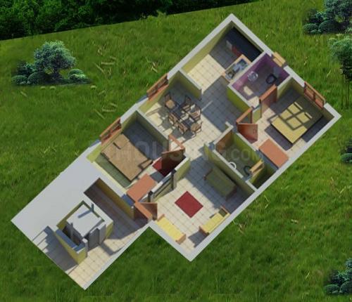 Athreya Saswatha Floor Plan: 2 BHK Unit with Built up area of 756 sq.ft 1