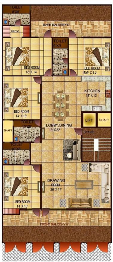 Richlook Luxurious Floor Floor Plan: 4 BHK Unit with Built up area of 3600 sq.ft 1