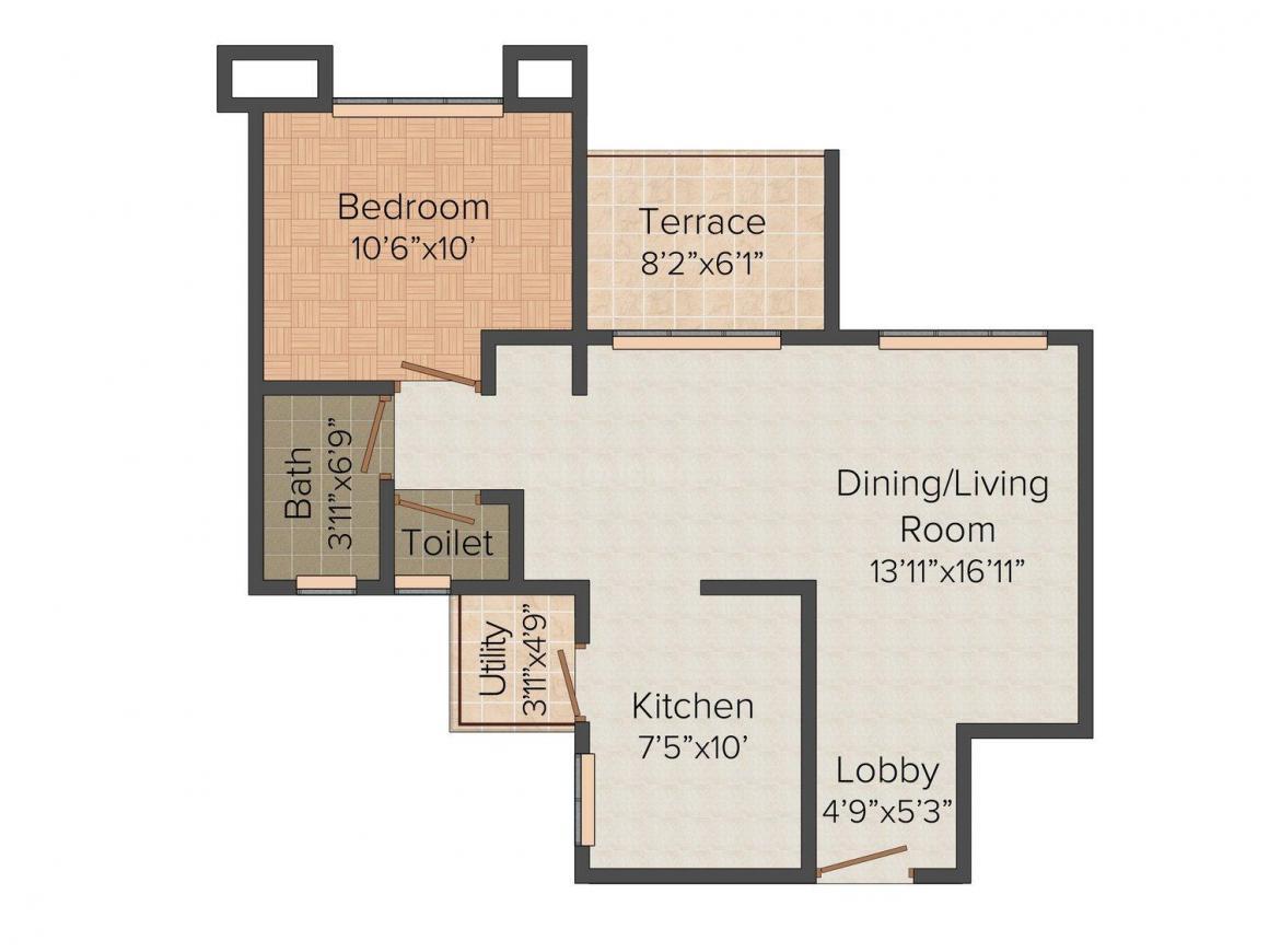 Hrutviin Unnati Avenue Floor Plan: 1 BHK Unit with Built up area of 476 sq.ft 1
