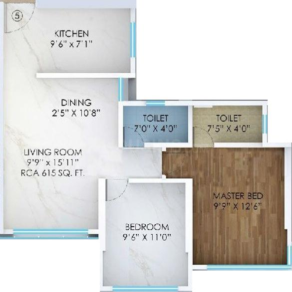 Mitasu Arcenciel Floor Plan: 2 BHK Unit with Built up area of 482 sq.ft 1