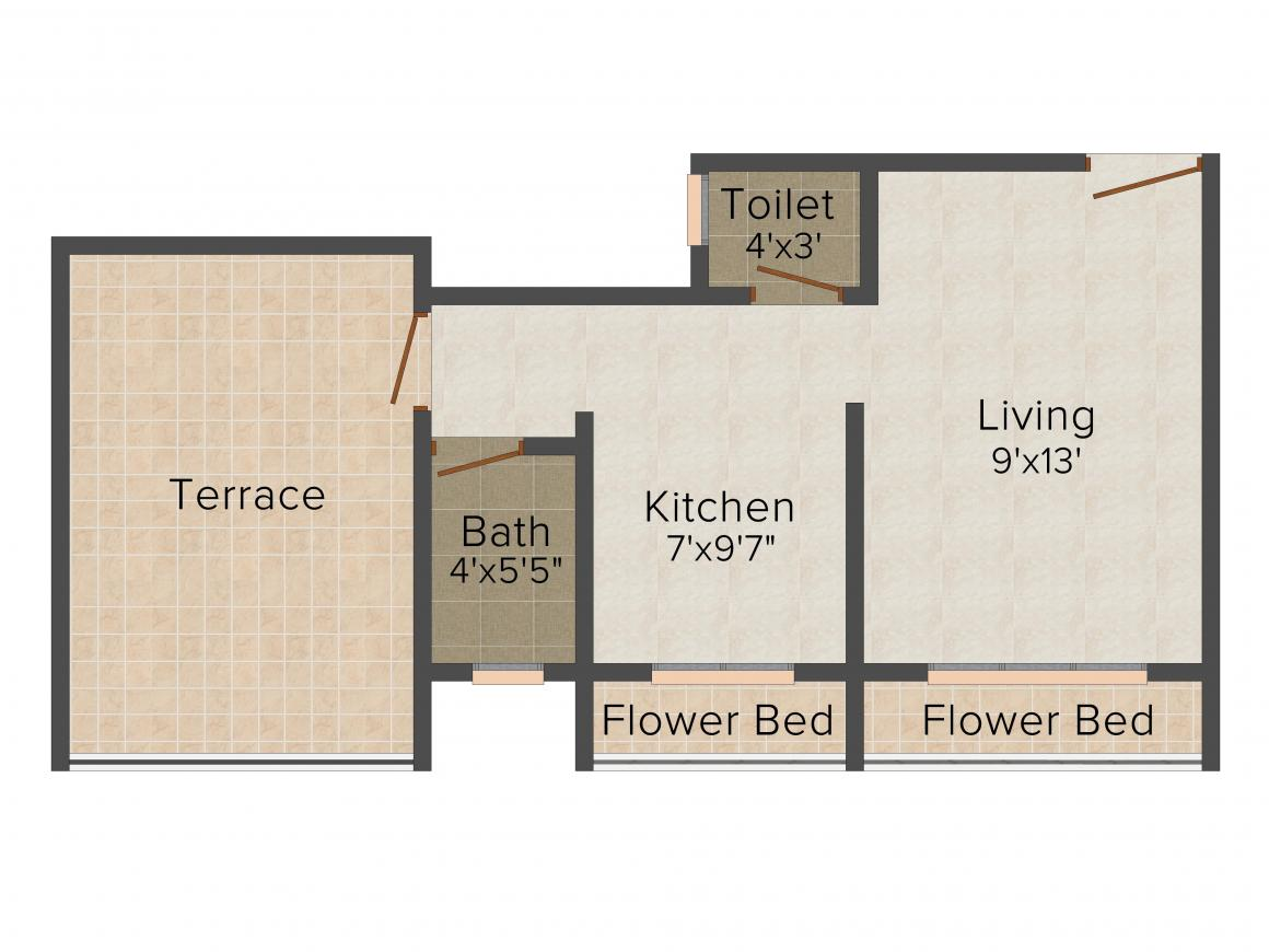 Floor Plan Image of 260.0 - 400.0 Sq.ft 1 RK Apartment for buy in UniMax Rise Homes