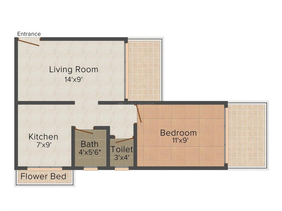 Floor Plan Image of 0 - 590.0 Sq.ft 1 BHK Apartment for buy in Shree Chintamani Green Land Residency