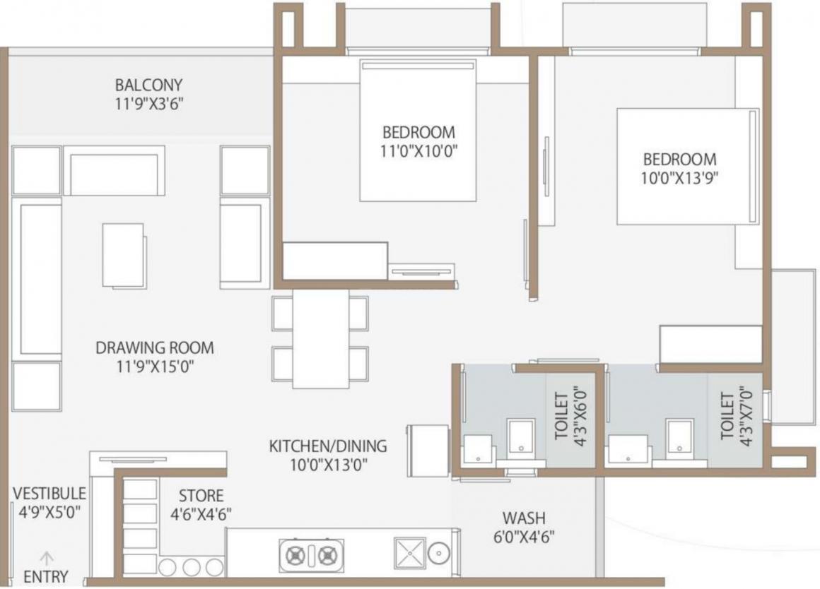 Shree Tatsatlife Floor Plan: 2 BHK Unit with Built up area of 676 sq.ft 1