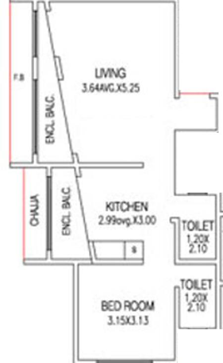 Options Augustin Enclave Floor Plan: 1 BHK Unit with Built up area of 602 sq.ft 1