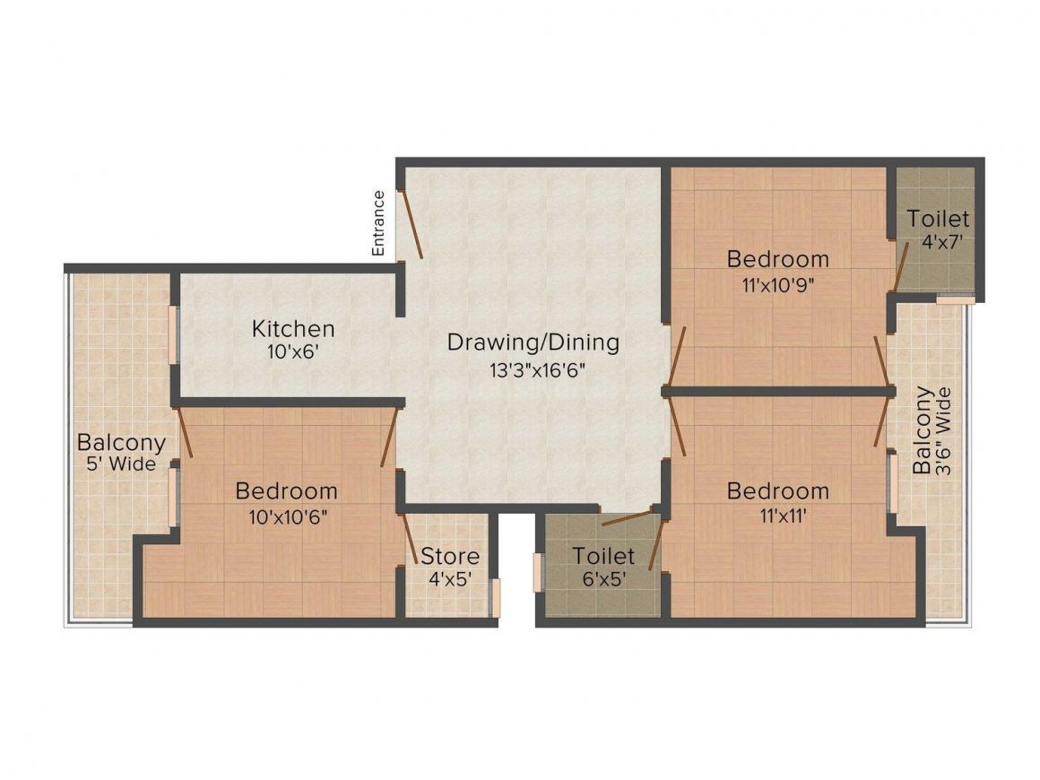 Floor Plan Image of 0 - 1250.0 Sq.ft 3 BHK Apartment for buy in Rudra Ganpati Apartment