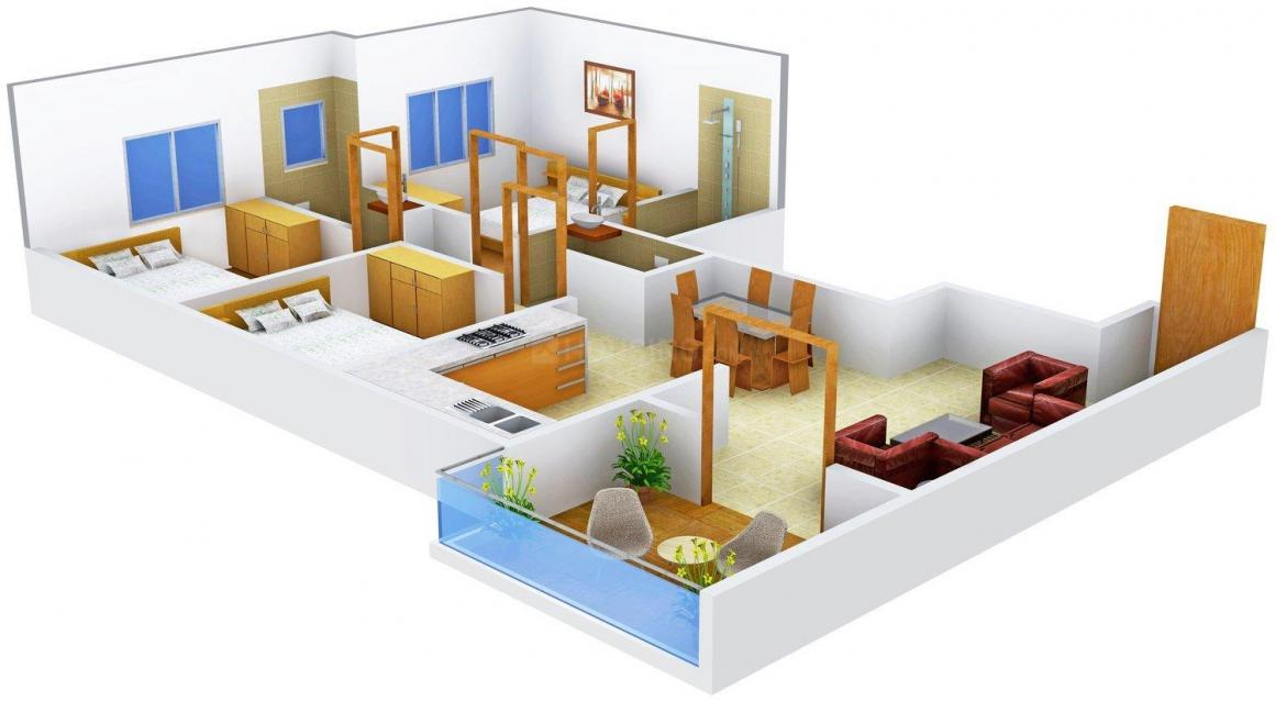 Floor Plan Image of 0 - 992.0 Sq.ft 3 BHK Apartment for buy in Deep Akash Avenue