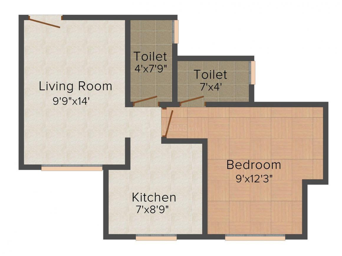 Floor Plan Image of 595 - 1114 Sq.ft 1 BHK Apartment for buy in Puraniks City