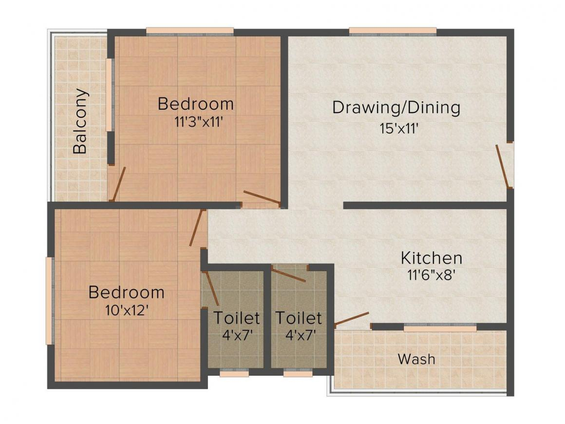 Floor Plan Image of 0 - 930 Sq.ft 2 BHK Apartment for buy in M. K Atharva 3