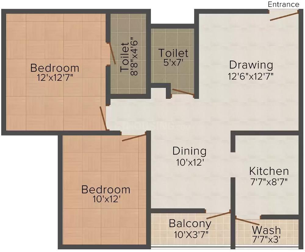 Quantum DNR Apartment Floor Plan: 2 BHK Unit with Built up area of 800 sq.ft 1