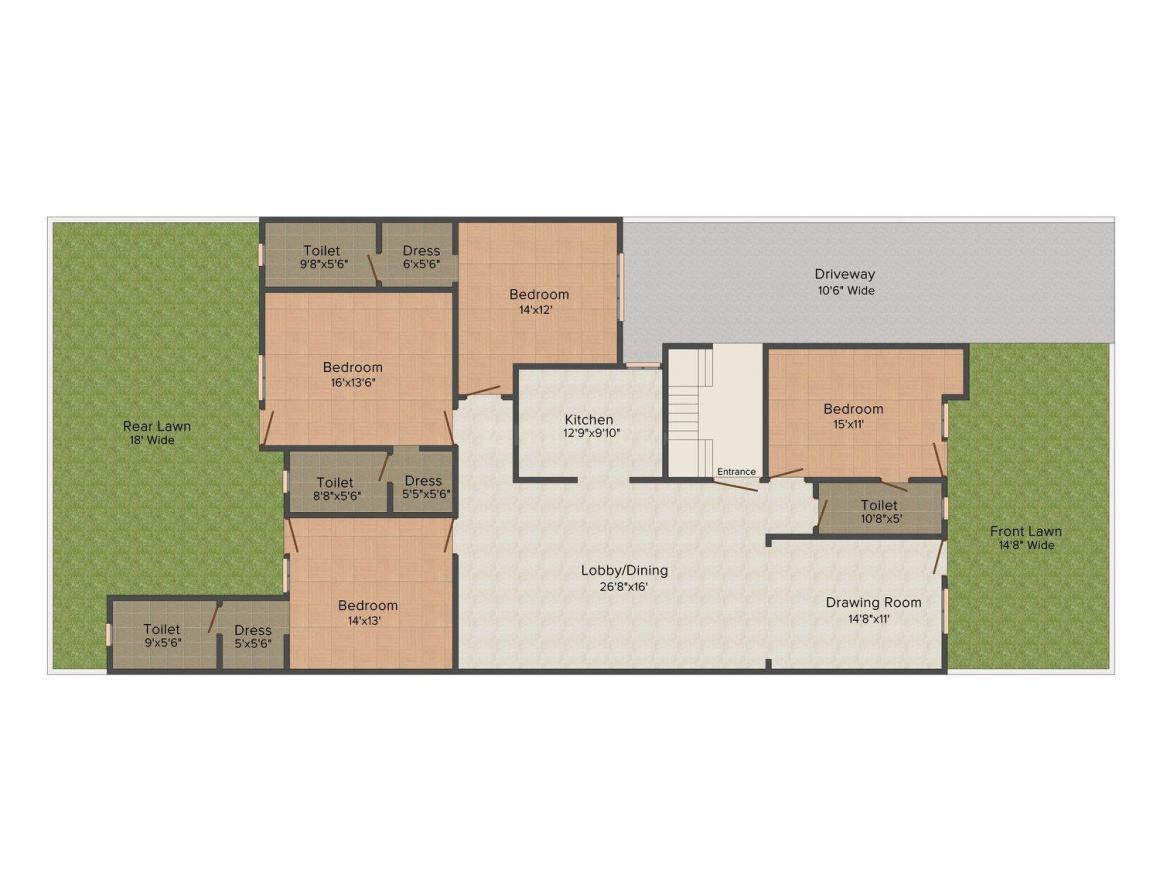 Platinum Homez - 4 Floor Plan: 4 BHK Unit with Built up area of 3654 sq.ft 1