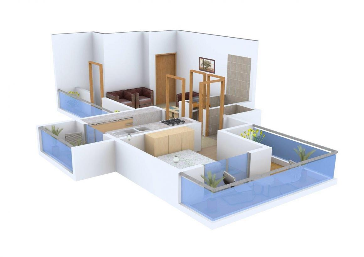 Floor Plan Image of 472.0 - 665.0 Sq.ft 1 BHK Apartment for buy in Shiv Vishwa Square Heights