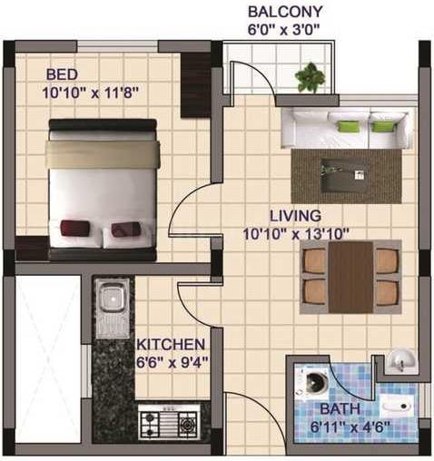 SSM Nagar Floor Plan: 1 BHK Unit with Built up area of 633 sq.ft 1