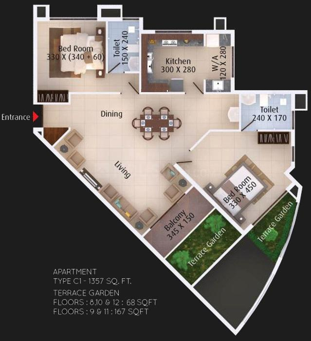 Paul Eco Paradise Floor Plan: 2 BHK Unit with Built up area of 1357 sq.ft 1