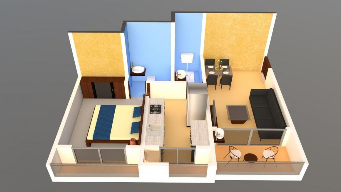 Dange Crown A Wing Floor Plan: 1 BHK Unit with Built up area of 434 sq.ft 1