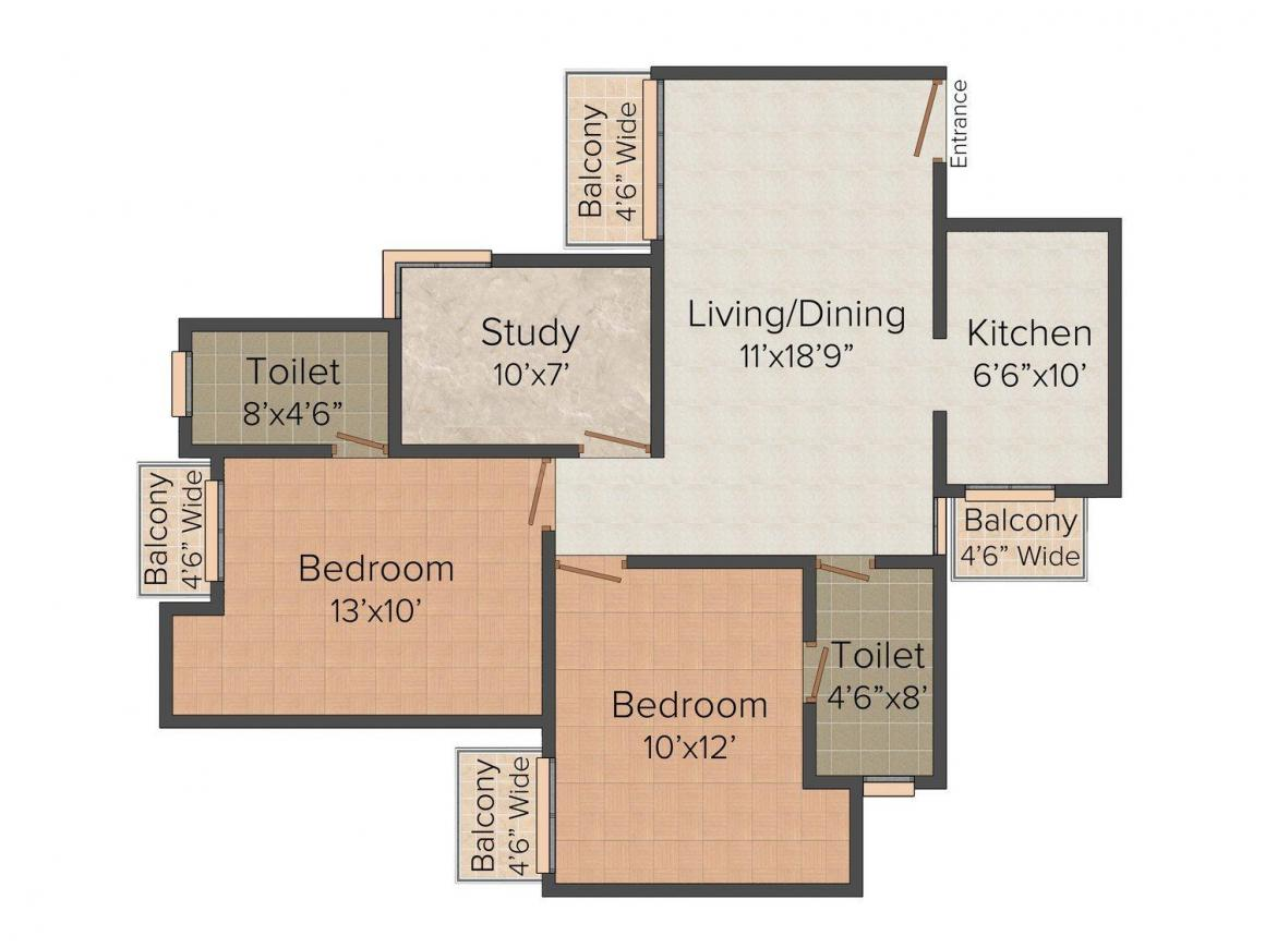 Parsvnath Passion Floor Plan: 2 BHK Unit with Built up area of 1155 sq.ft 1