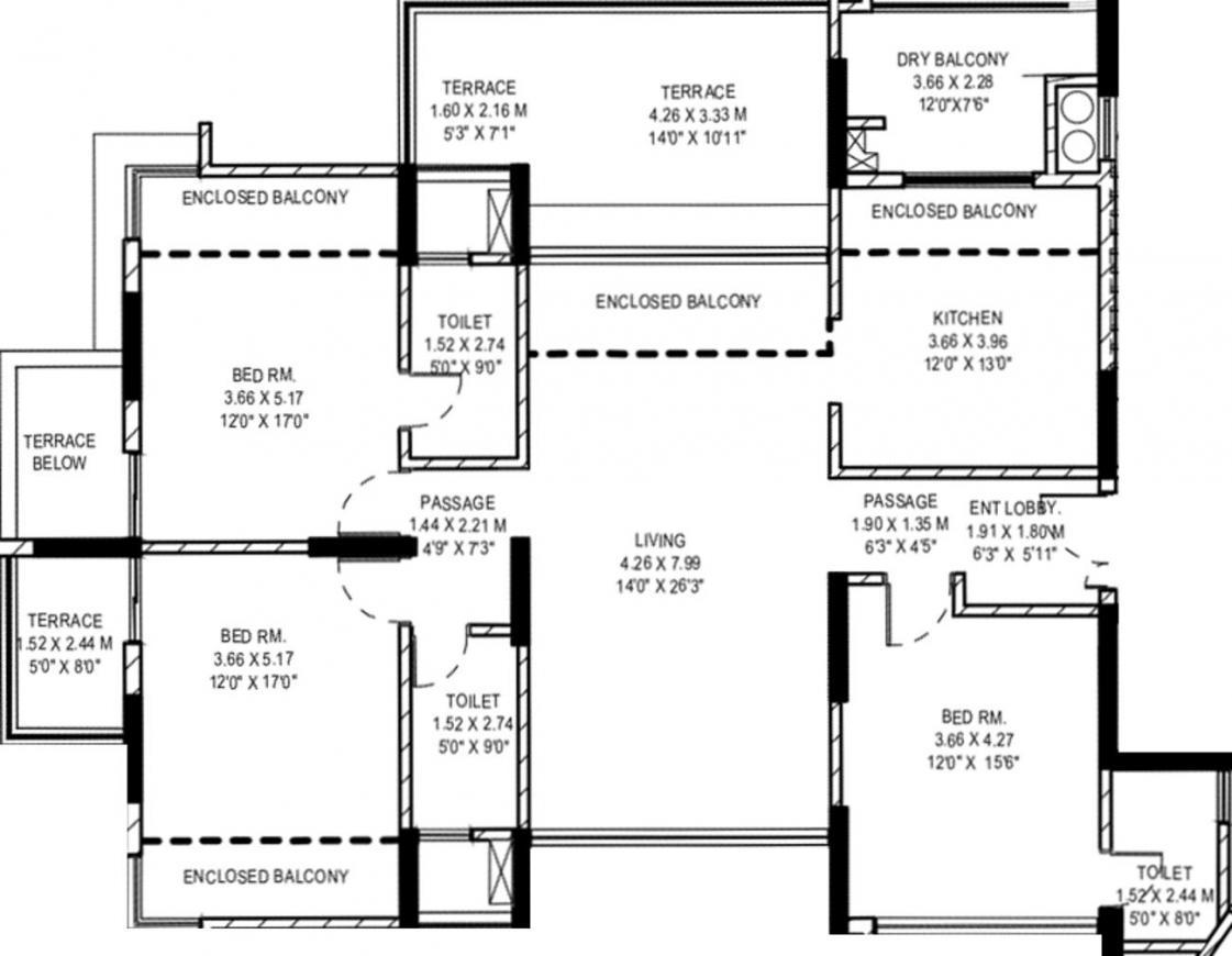 Pride Purple Park Grandeur Phase II Floor Plan: 3 BHK Unit with Built up area of 1219 sq.ft 1
