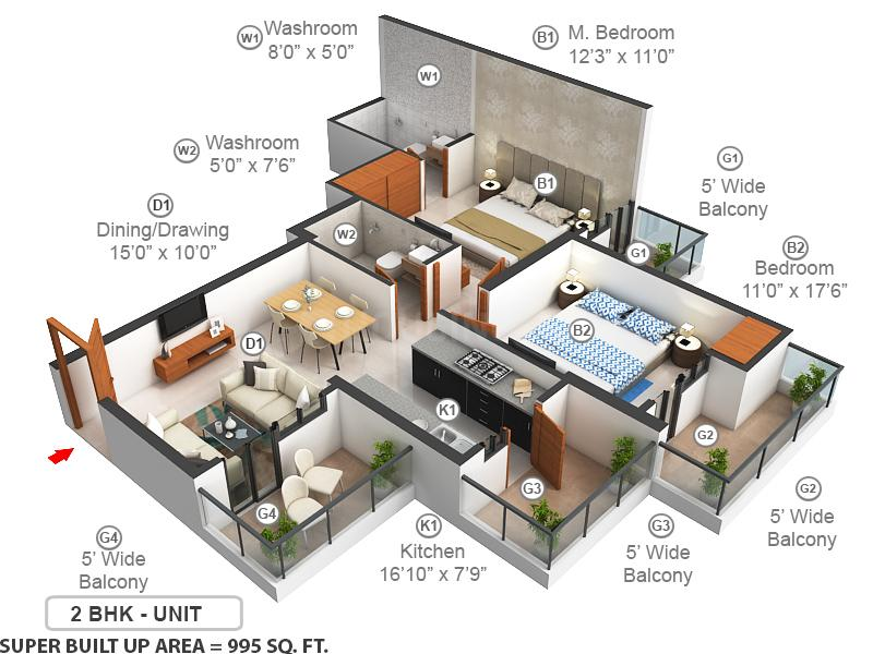 Nirala Estate Floor Plan: 2 BHK Unit with Built up area of 995 sq.ft 1