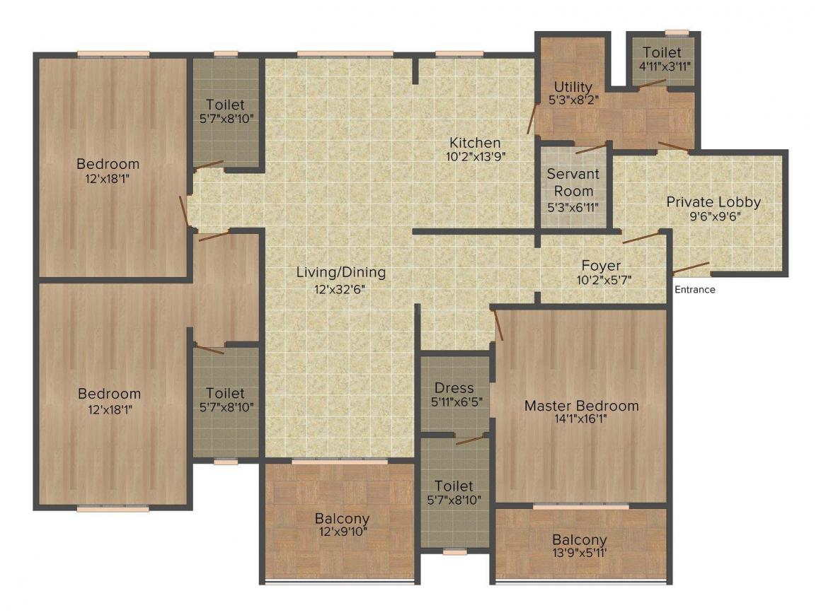 Floor Plan Image of 2763 - 7765 Sq.ft 3 BHK Apartment for buy in Artisane Forest Breeze