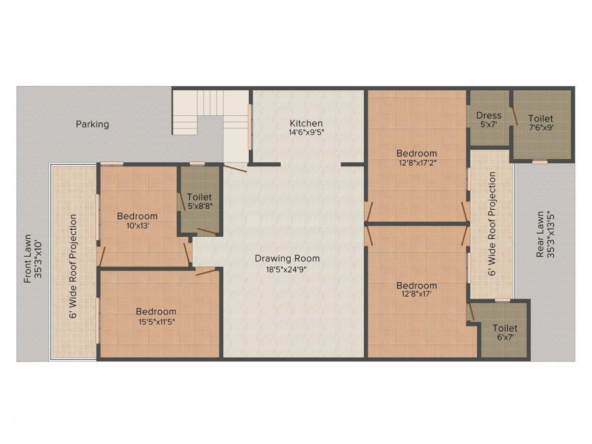 Yash Floors B 1168 Floor Plan: 4 BHK Unit with Built up area of 2592 sq.ft 1