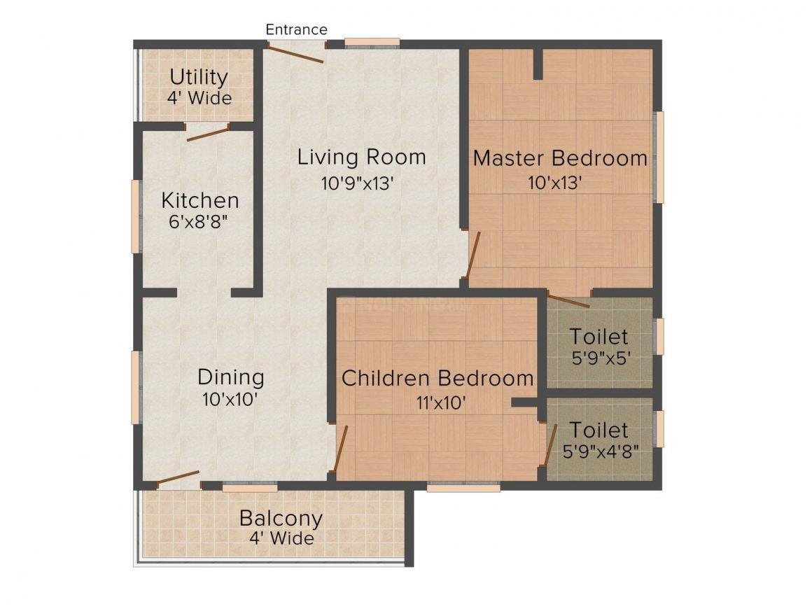 Rohan Vasantha Krishna Residency Floor Plan: 2 BHK Unit with Built up area of 1000 sq.ft 1