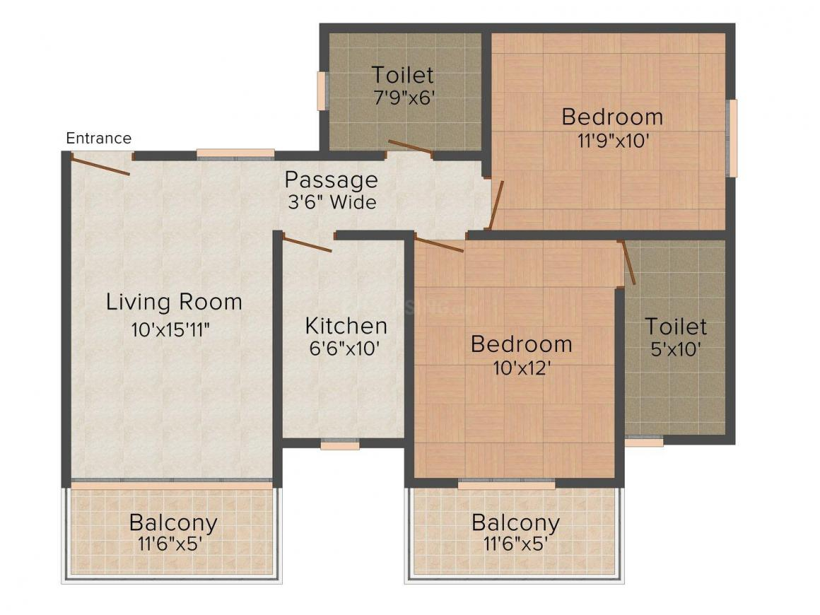 Floor Plan Image of 0 - 1000 Sq.ft 2 BHK Apartment for buy in Geo Lake Homes