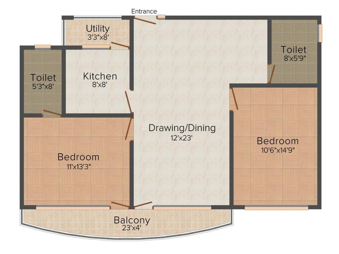 Floor Plan Image of 1150 - 1640 Sq.ft 2 BHK Apartment for buy in Roma Epicurean