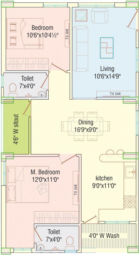 APR Praveens Prime Floor Plan: 2 BHK Unit with Built up area of 1155 sq.ft 1