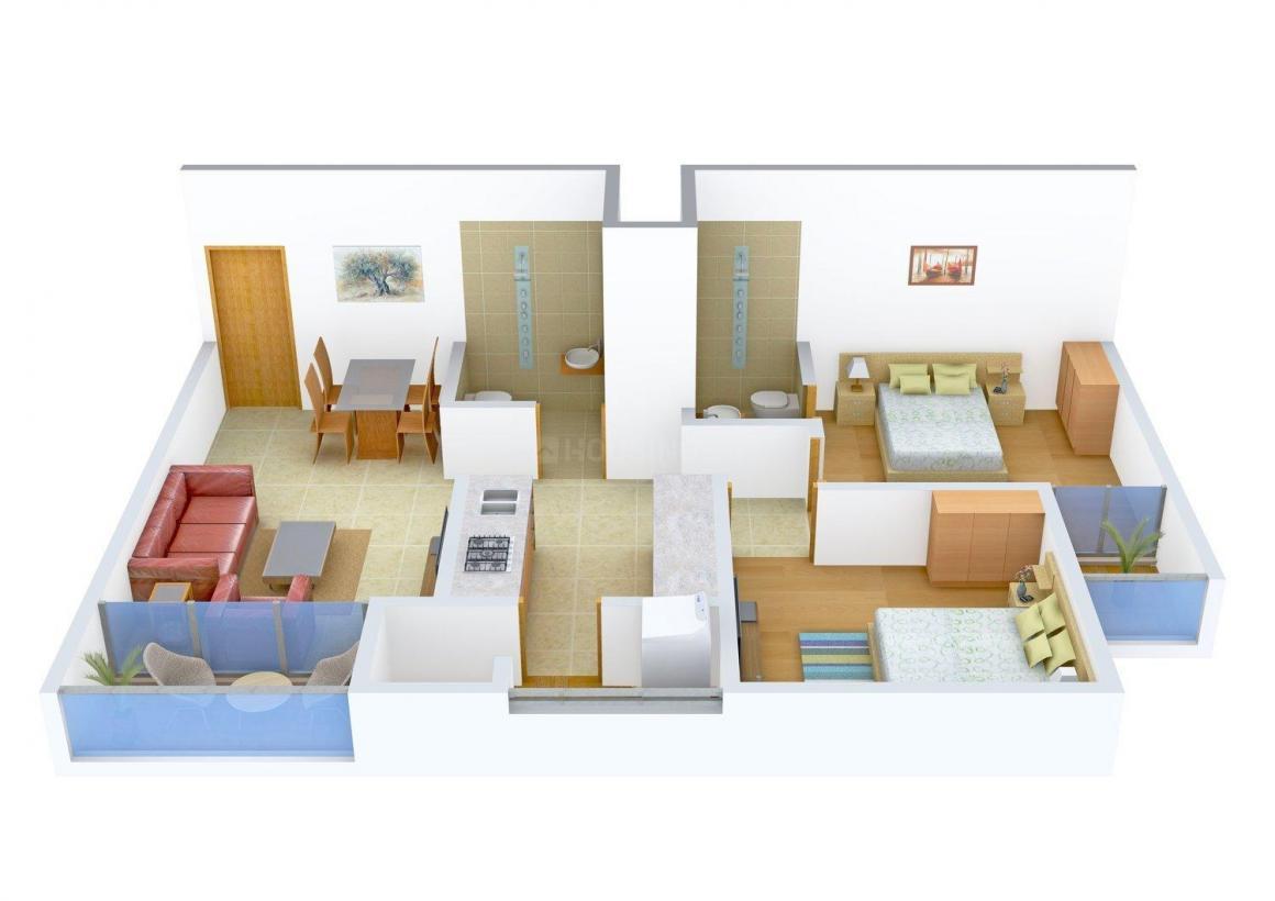 Sachet Vedant Shreeji Enclave Floor Plan: 2 BHK Unit with Built up area of 1107 sq.ft 1