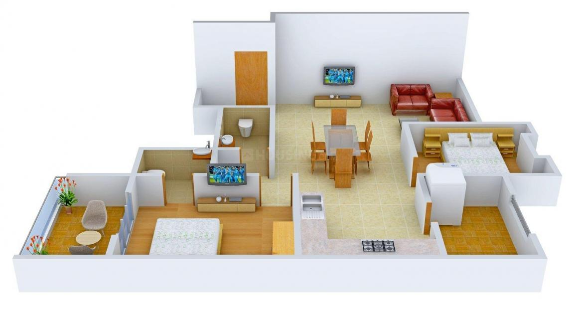 Floor Plan Image of 1200 - 2070 Sq.ft 2 BHK Apartment for buy in Ravindra Shree Ravi Enclave