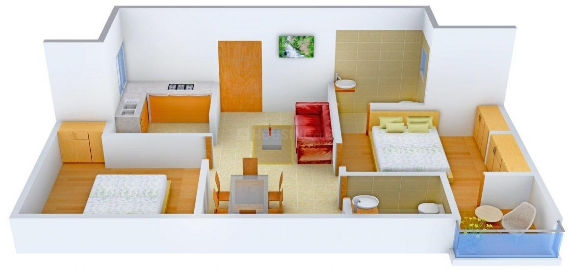 Krishna Krishna Dwarika Apartment Floor Plan: 2 BHK Unit with Built up area of 900 sq.ft 2