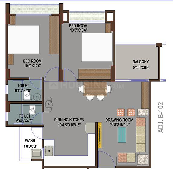 Grand Riviera Floor Plan: 2 BHK Unit with Built up area of 1240 sq.ft 1